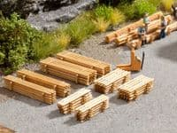 NOCH HO Scale Piles Of Planks (8) Laser Cut Minis Kit # N14200